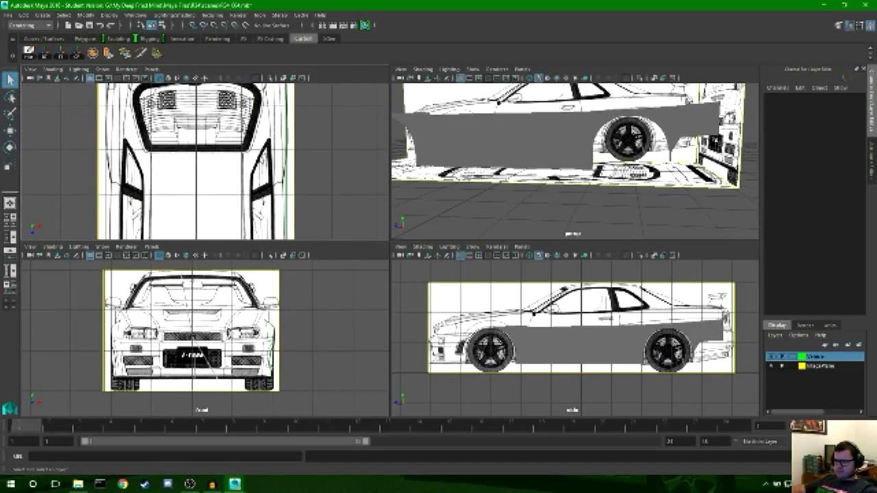 Modelling A R34 Nissan Skyline In Autodesk Maya Part 3 Youtube