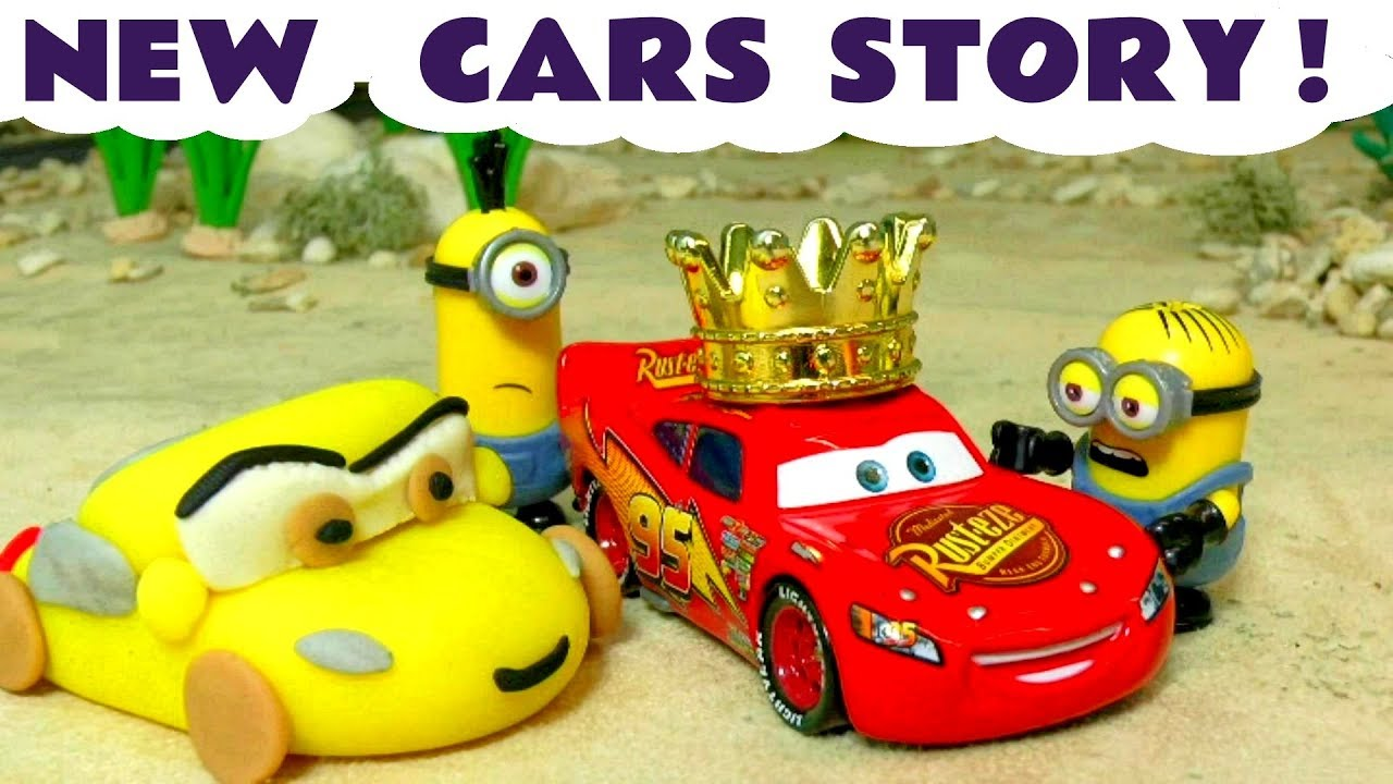 cars 3 disney toys play doh prank by despicable me 3 minions toy story for kids and children tt4u