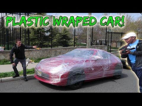 PLASTIC WRAP ON FRIENDS CAR PRANK! (HE WAS PISSED)