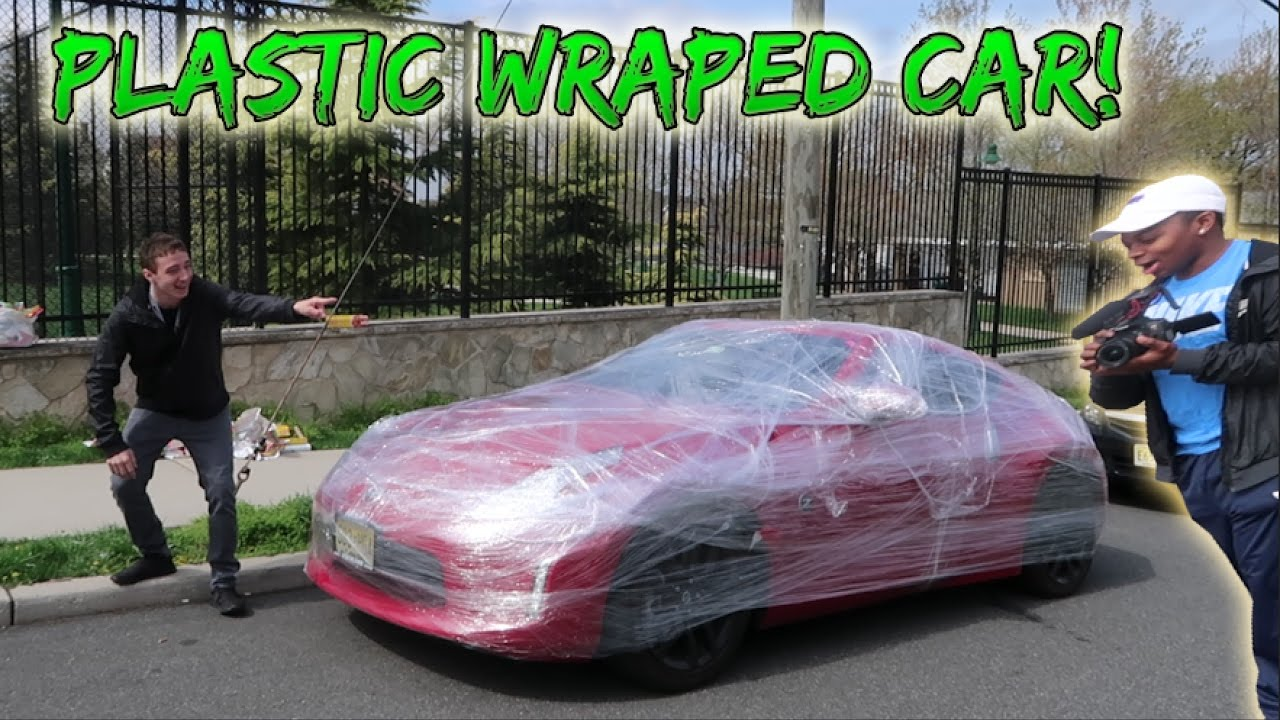 Saran Wrap Car: PLASTIC WRAP ON FRIENDS CAR PRANK! (HE WAS PISSED)