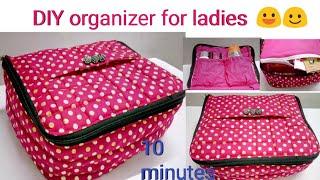 Very easy DIY zipper box bag/ multipurpose organizer/cosmetics bag/underwear organizer/ travel bag