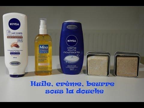 huile et crème sous la douche