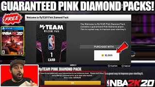WE OPENED SO MANY GUARANTEED PINK DIAMOND PACKS AND BROKE 2K ALREADY! NBA 2K20 MYTEAM PACK OPENING