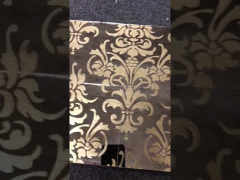 Sandblasted Damask Pattern gilded into antique mirror glass