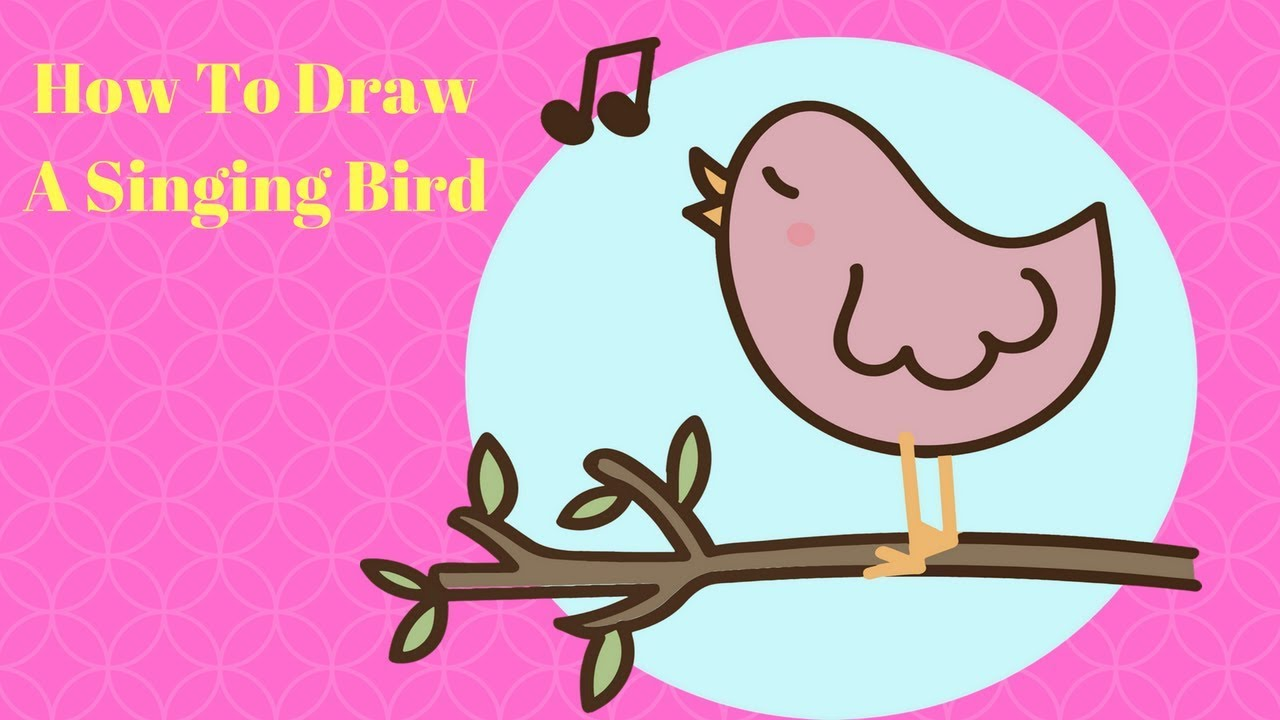 How To Draw A Singing Bird How To Draw Bird For Kids