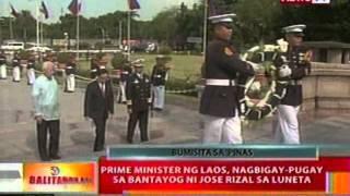 BT: Prime minister ng Laos, nagbigay-pugay sa   bantayog ni Jose Rizal sa Luneta