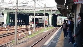 名鉄3500系3522F+9100系9104F急行豊橋行金山4番線到着