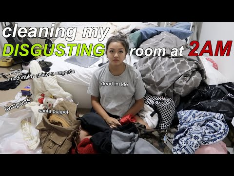 CLEANING MY DISGUSTING ROOM AT 2AM (took me 2 weeks) | maiphammy