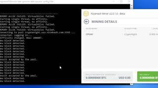 Demo of Nicehash Bitcoin Mining desktop client