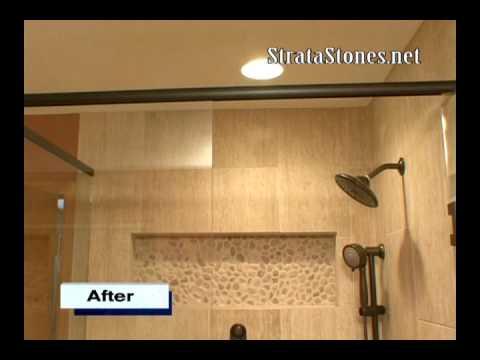 Pebble Tile Shower Installation Stratastones Pebble Tile Youtube