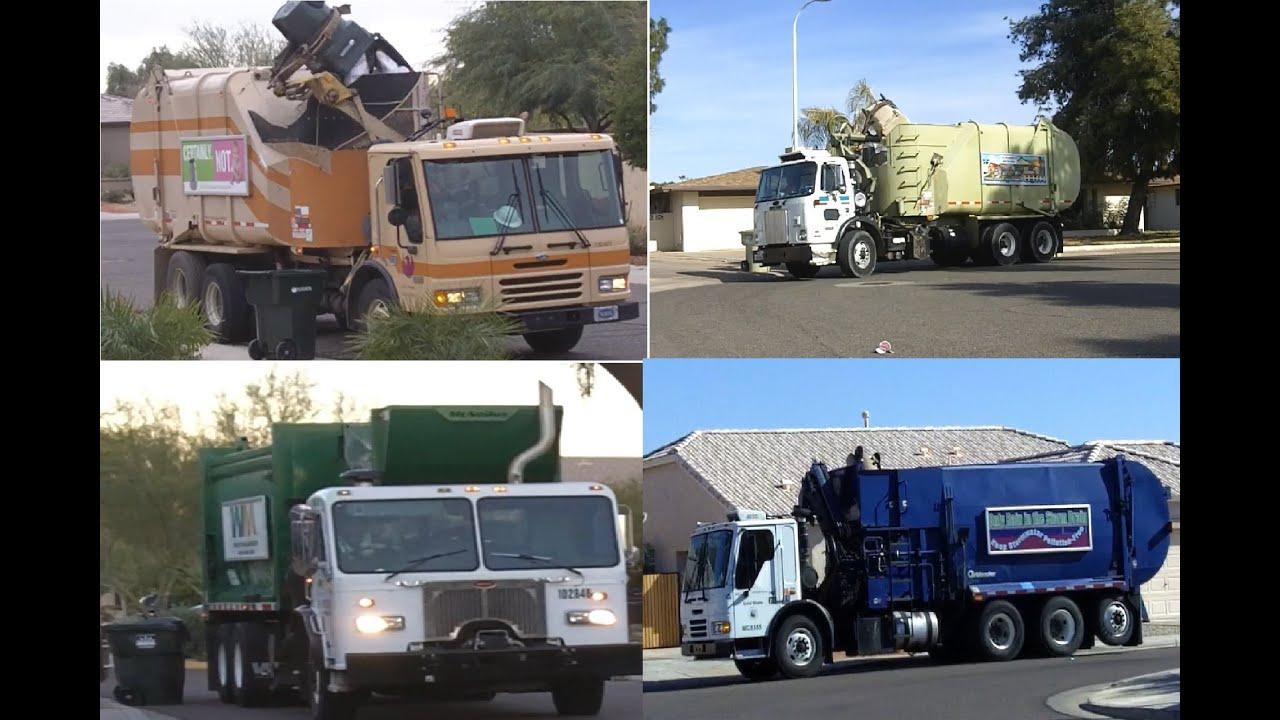 Garbage Trucks Side Loaders Youtube