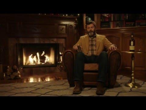 Nick Offerman's Yule Log + Rain + Music