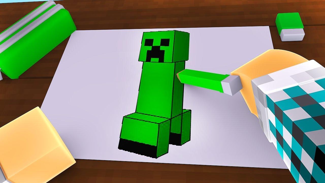 Colorindo Um Creeper No Minecraft Minecraft Desenho 2