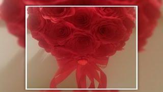 Топиарий СЕРДЦЕ декор на свадбу  мастер класс + Розы из кухонных салфеток фрекен бок