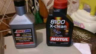 AMSOIL Premium protection 10W40 и Motul X-Clean 5W40 на -19 градуса