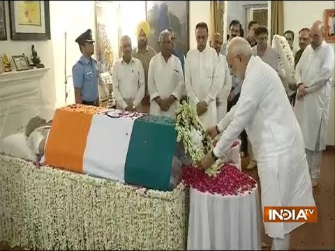PM Modi pays tribute to former PM Atal Bihari Vajpayee at the latter's residence in Delhi