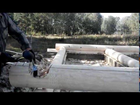 Зарезка чаши, работа с теслом. Сруб ручной рубки. Беларусь