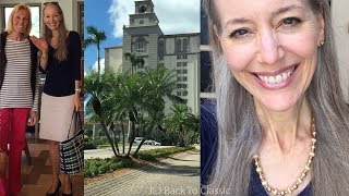 Vlog: Lunch Ritz-Carlton Naples FL; Navy Top,  Khaki Pencil Skirt OOTD, Classic Style Over 40, 50