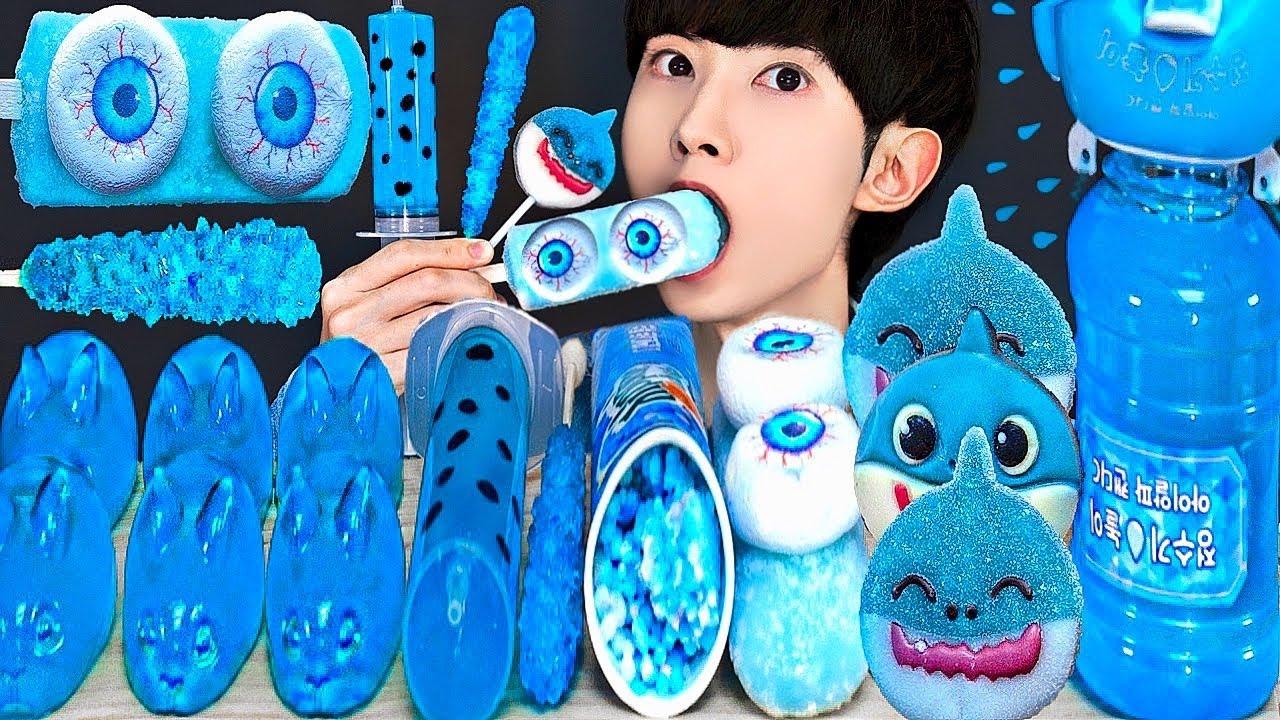 ASMR ICE CREAM BLUE FOOD PARTY 다양한 블루 음식 아이스크림 젤리 먹방 DESSERTS JELLY CANDY MUKBANG EATING SOUNDS 咀嚼音