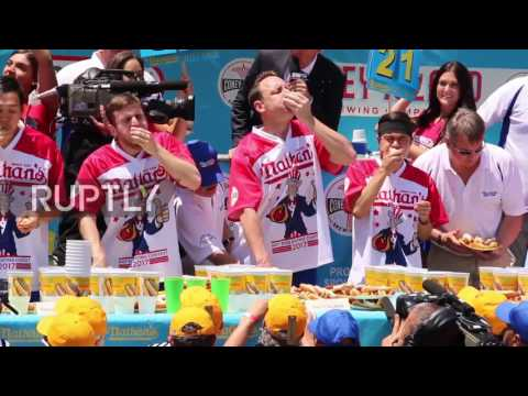 USA: Man downs record-breaking 72 hot dogs on Independence Day eating competition
