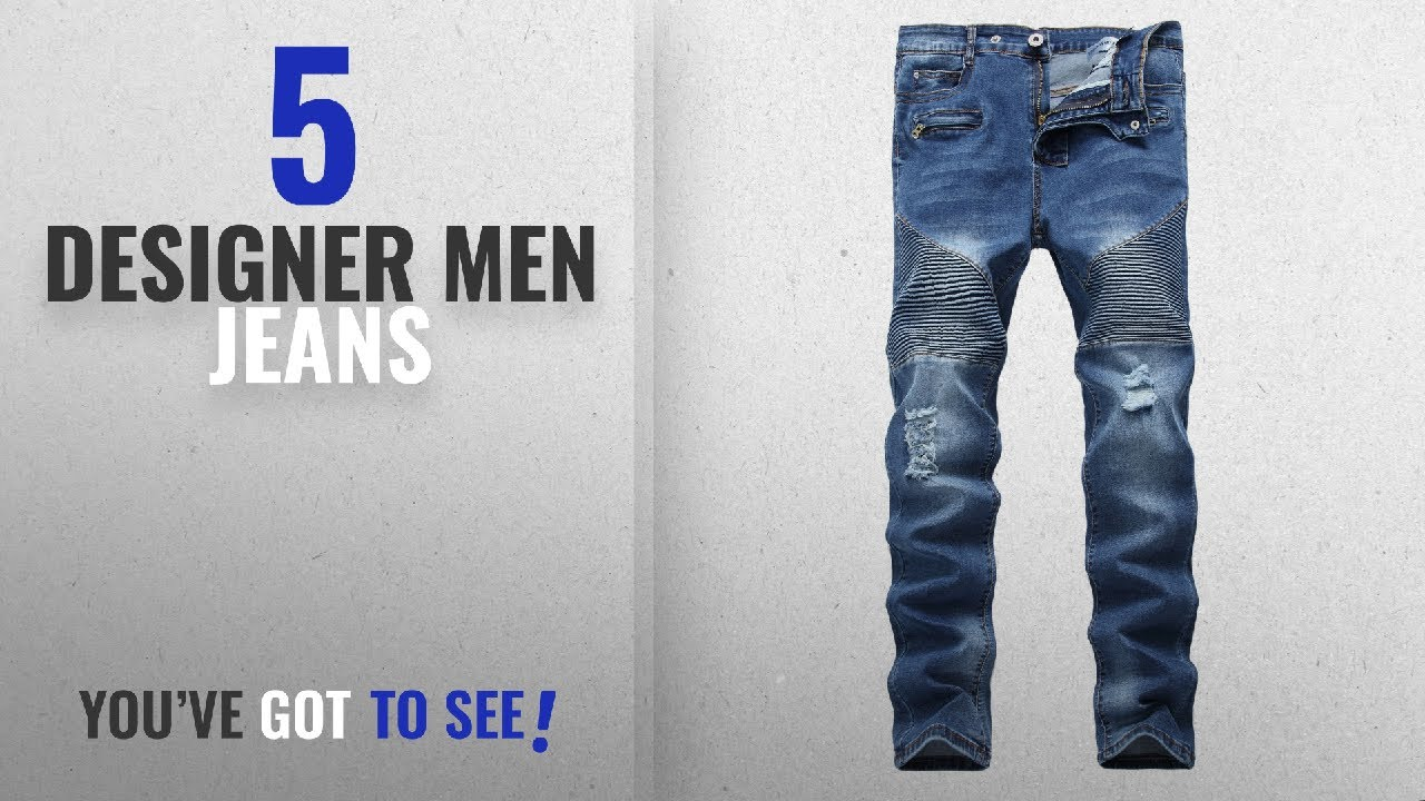 615ea749aa27 Top 10 Designer Men Jeans   Winter 2018    Men s Blue Biker Moto ...