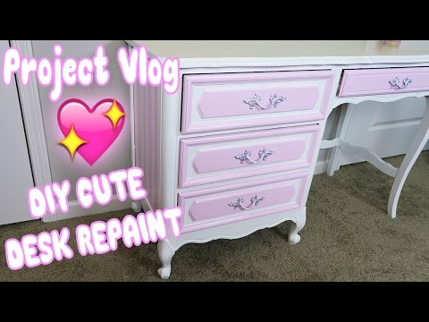 Project Vlog: DIY Vintage Desk Repaint! 💖 Kawaii inspired Furniture Transformation✨