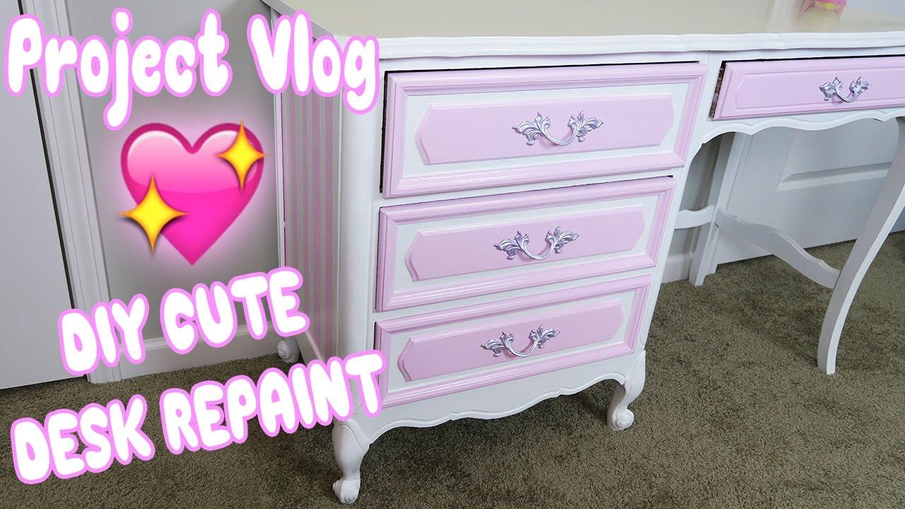 Bon Project Vlog: DIY Vintage Desk Repaint! 💖 Kawaii Inspired Furniture  Transformation✨