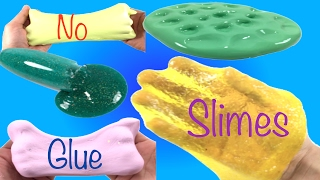 Slime 5 ways Without Glue!! DIY How To Make Slime Without Baking Soda,Borax or Shaving Cream