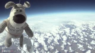 A cuddly toy puppy sent into the stratosphere for my newly born nep...