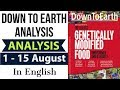 Down to Earth magazine 2018 analysis August 1-15 for Geography optional UPSC 2018 & 2019 mains