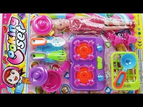 Funny Toys Cooking Kitchen Set Unpacking With Baby Doll