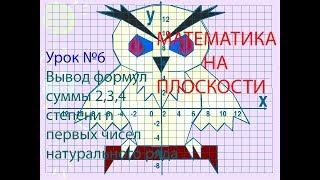 МАТЕМАТИКА НА ПЛОСКОСТИ. Урок №6 Вывод формул суммы 2,3,4 степени первых чисел натурального ряда.
