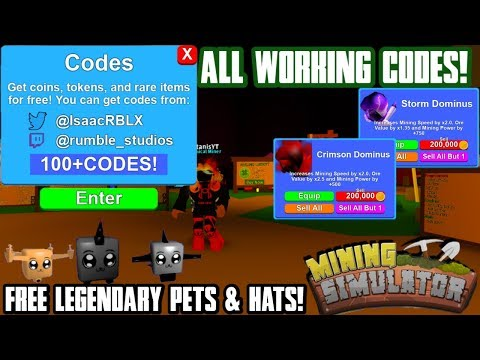 Mining Simulator: ALL 100+ CODES 2020! (20 LEGENDARY HAT CRATES AND 20+ LEGENDARY EGGS FREE) |Roblox