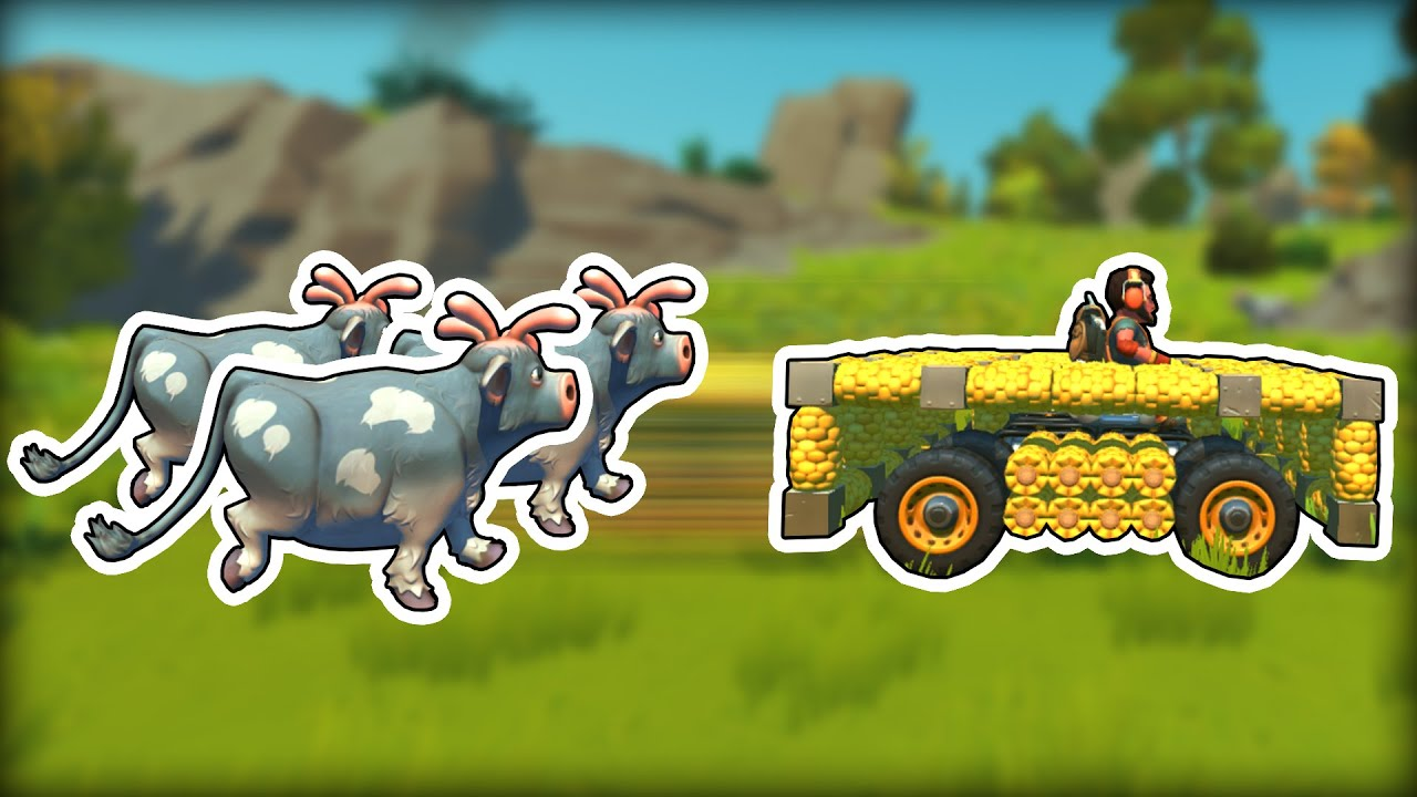 We Raced CORN CARS Through a Field of COWS! (Scrap Mechanic Multiplayer Monday)