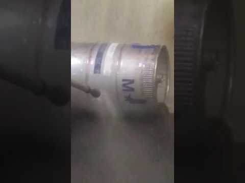 Stripping the paint of this keg, with our waterjet system