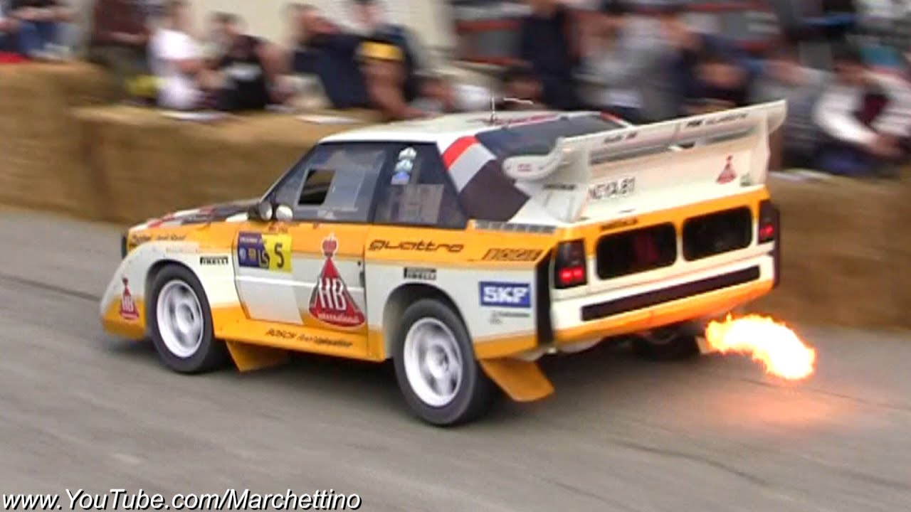 audi sport quattro s1 flames, jump and accelerations! - youtube