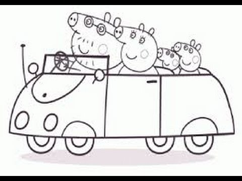 Peppa Pig Family in New Car Coloring Book Coloring Pages