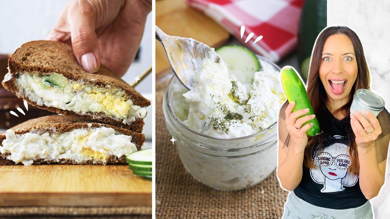 Mezcla 🥒pepino y yogur [La crema TZATZIKi mas deliciosa] 5 ingredientes