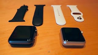 Apple Watch Sport Edition 38mm White with 42mm Black Strap Size & Colour Comparison Review