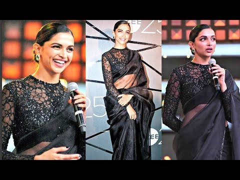 Deepika Padukone Hot In Black Saree At 25th Zee Anniversary Event