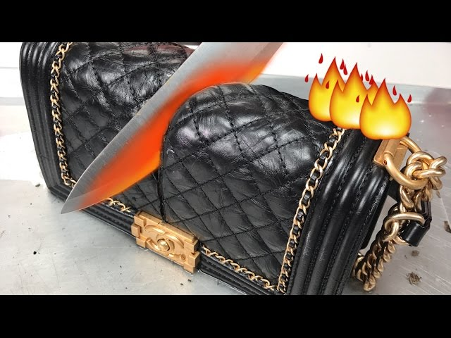 19e58379c98515 That's one hot bag! YouTube star and beauty guru Jeffree Star takes on  viral hot knife video challenge by slicing through a $5,500 CHANEL HANDBAG  with a ...