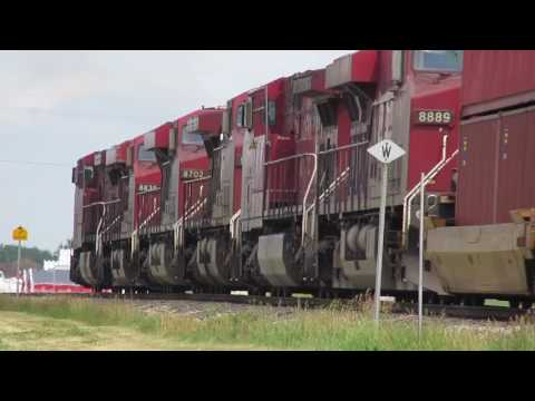 MASSIVE 7 Engine CP Mixed freight train on the red deer sub!