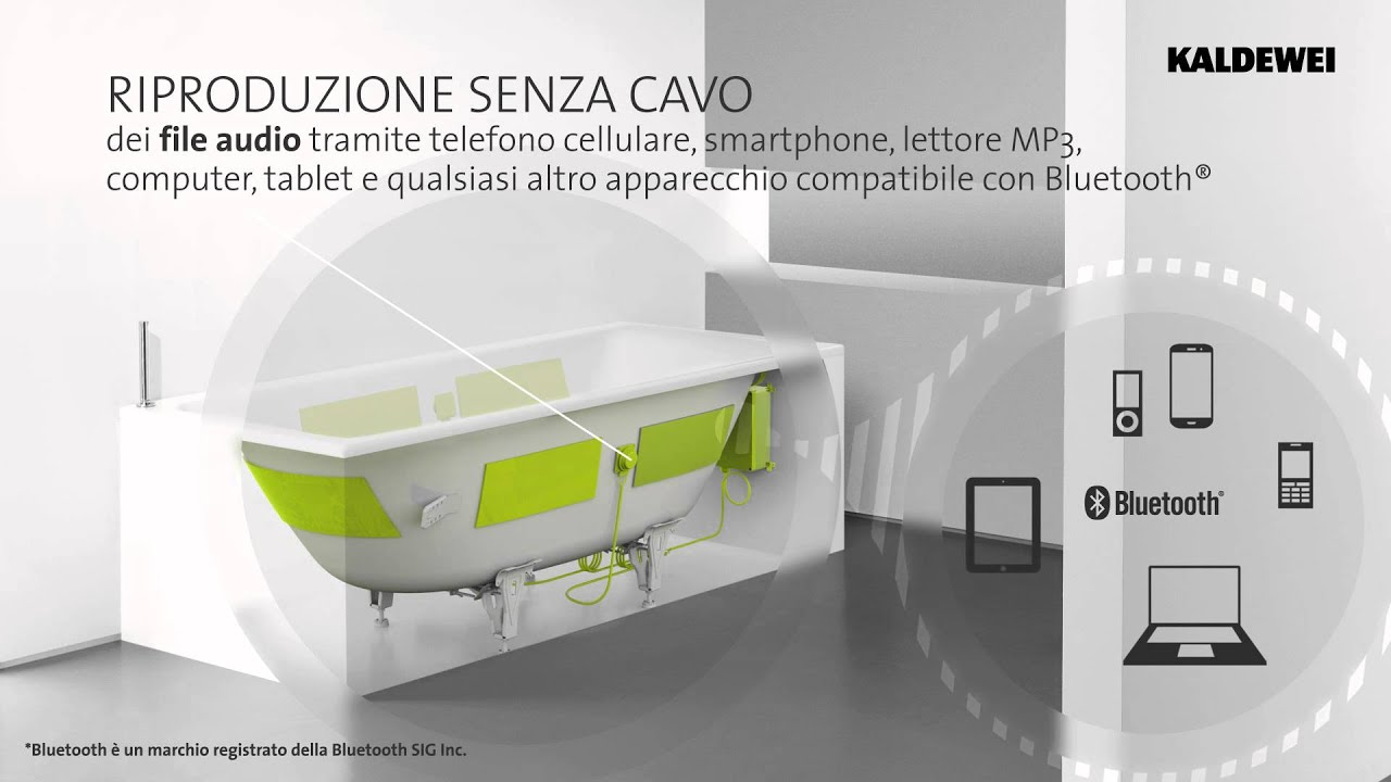Vasca Da Bagno Wave : Kaldewei sound wave ita l innovativo sistema audio bagno youtube