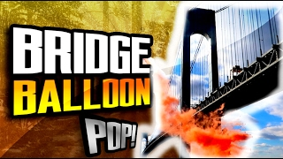 EXPLODING BALLOONS at a BRIDGE in NYC!! Cool Science Experiment!