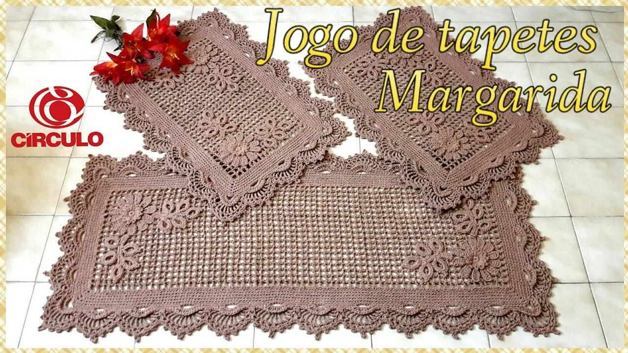 c114d29b63 Jogo de tapetes Margarida em Crochê. 1 3🌿Ramos de folhas .Por Vanessa  Marcondes.