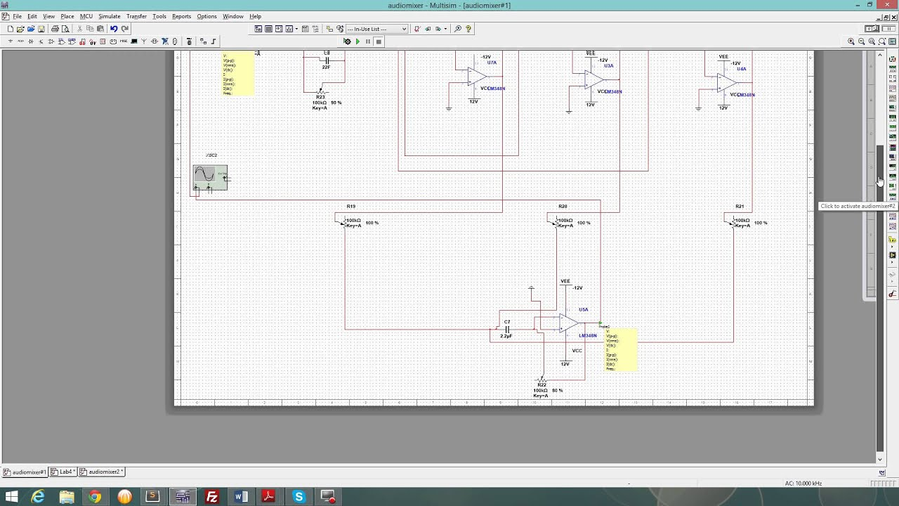 Multisim Simulation Audio Circuit Ee 233 Youtube Channel Mixer Using Lm3900 Simple Schematic Diagram