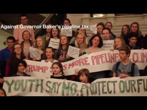 Climate Change advocate groups protest at Massachusetts State House