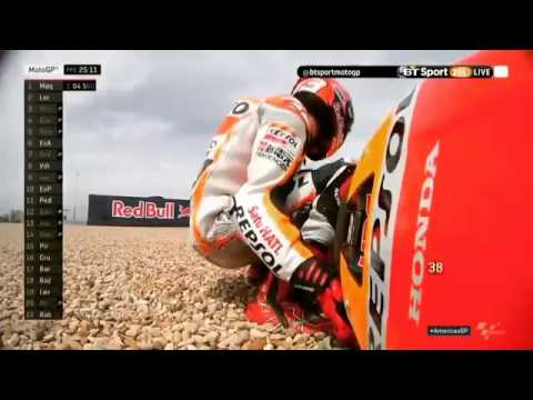 Marc Marquez crashes in MotoGP FP2 after setting the fastest time of the day at Austin