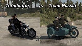 Spintires Mudrunner Motorbike Battle Terminator vs Team Russia Harley fatboy Ural M 62