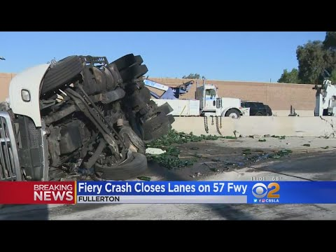 Partial Closure On 57 Freeway Continues Hours After Fiery Big Rig Crash
